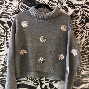 LF | Grey Turtleneck Crop Sweater